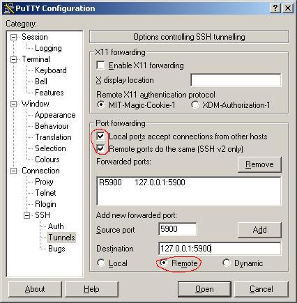 Configuring a remote tunnel for VNC in PuTTY