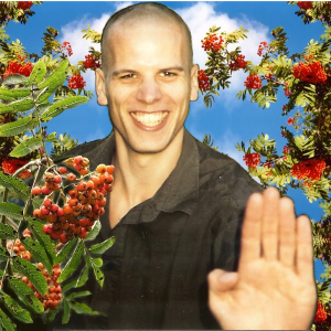 This is me, in 2004, copy-pasted between some rowan berries.