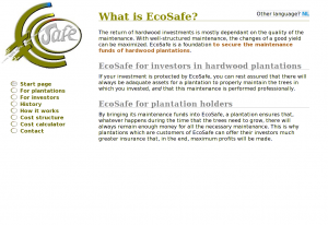 The Welcome page of the EcoSafe website