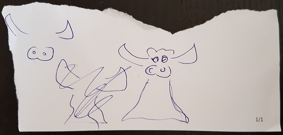 A doodle of a BULL, which, with a dress, also kind of looks like a boobylicious Angel.