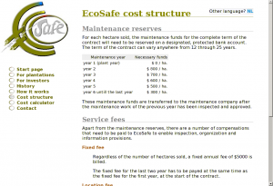 EcoSafe cost structure